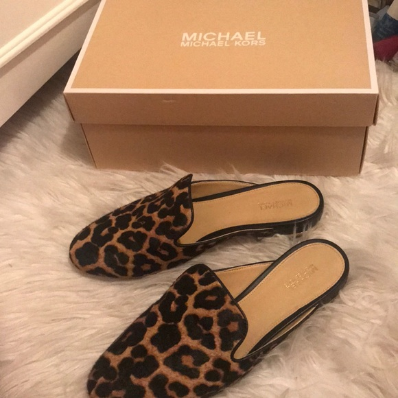 cfa72641f368 MICHAEL Michael Kors Shoes | Michael Kors Leopard Calf Hair Slides ...